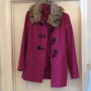 H&M fuchsia pink pea coat jacket
